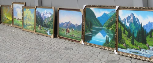 Oil Paintings on Zhibek Zholy in Almaty, Kazakhstan