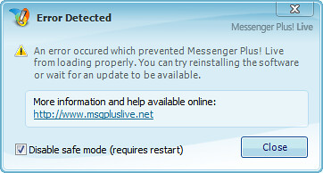 Messenger Plus! - Error Detected