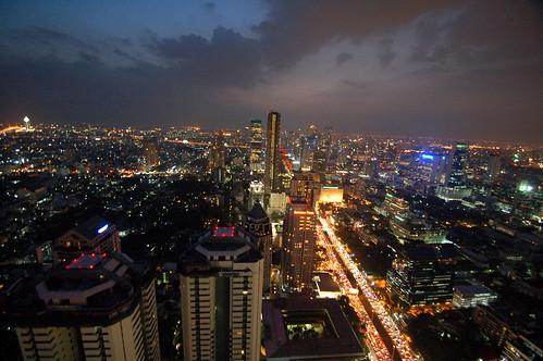 Night falls on Bangkok   View from Vertigo Moon Bar on top of the Banyan Tree