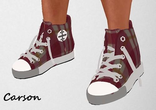 MHOH4 # 113 - Ginevra Lancaster Ladies & Men's Fashion Red Plaid Converse Shoes and Socks