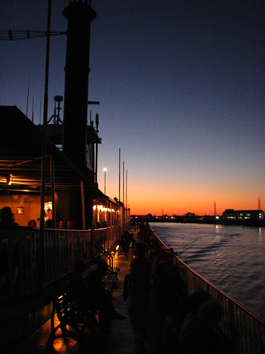 sunset aboard the natchez - port side, looking aft