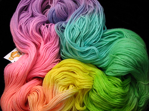 Pastel Rainbow BFL Worsted Yarn - 1 lb