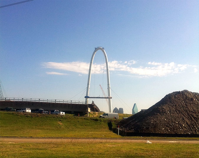 Margaret Hunt Hill Bridge in Dallas under construction (Diana Darling)