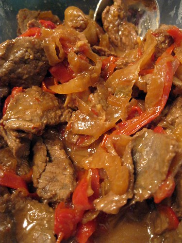 Bistek with Red Bell Pepper