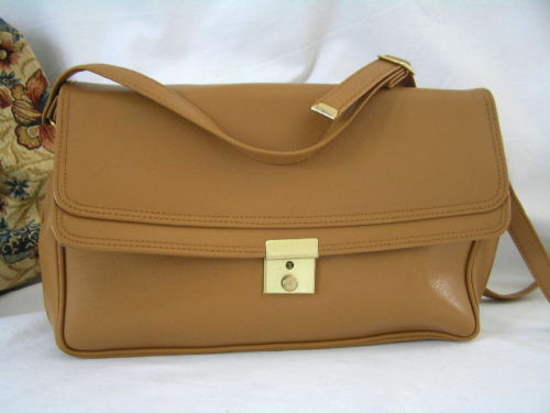 Handbag Tan Gold Crest