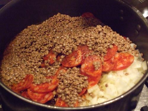 Making Lentils and Chorizo Stew