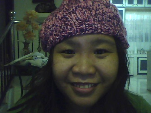 first knitted beret