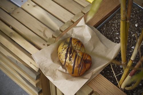 I went with the chocolate, hazelnut, almond cream and sea salt bun. It was really good.
