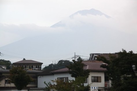Mount Fuji shrouded in mist