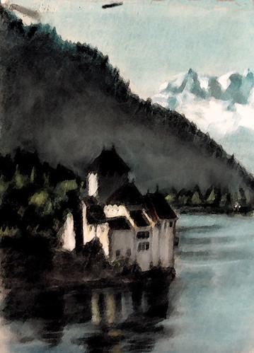 Königsee. Pastel painting, digitally enhanced