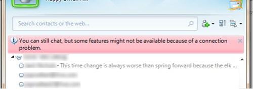 Blocked features in Messenger 2009