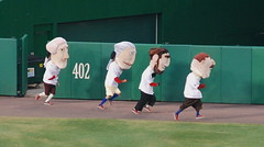 The Washington Nationals racing presidents at Nationals Park