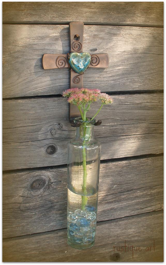 wall cross flower vase
