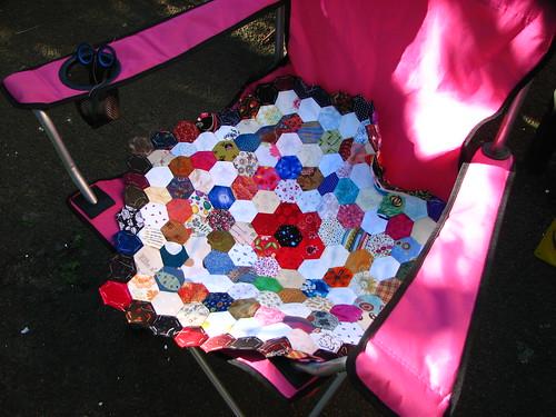hexies on the garden chair