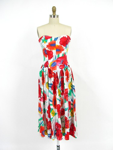 vintage 80's water color floral strapless