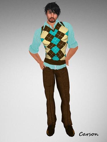 BalAni Stripes vest and Brown Pants (3)