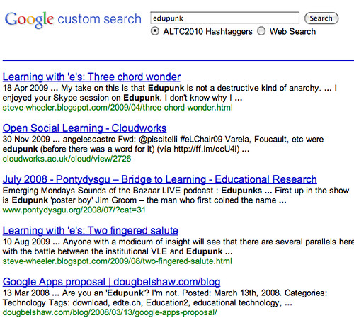 ALTC2010 hashtaggers search engine
