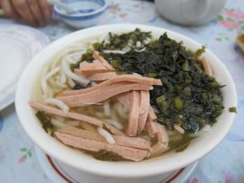 preserved veggie, ham shanghai noodles