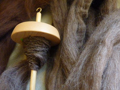 First spun ply in Corriedale
