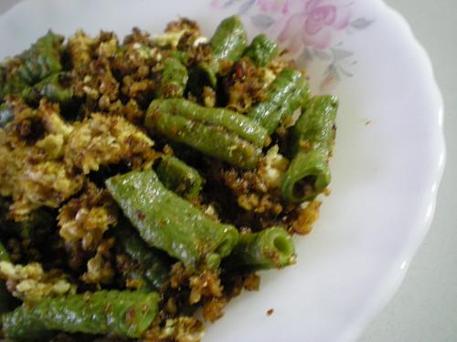 STP's fried sambal long beans with egg