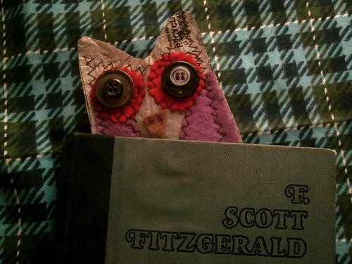 fused plastic + felt owl bookmark