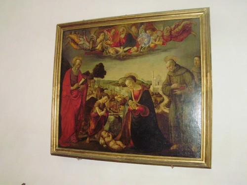 Scuola del Ghirlandaio tavola  Natività coi Santi Marco e Francesco