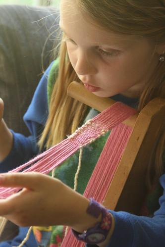 Weaving on Great Gramma's Inkle Loom