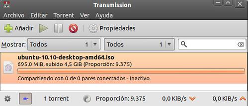 Transmission descargando la ISO de Ubuntu 10.10