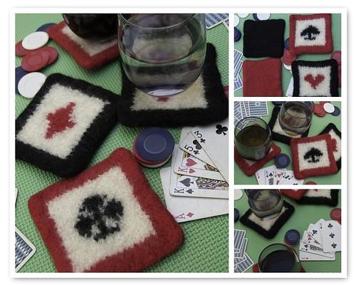 Felted Poker Coasters