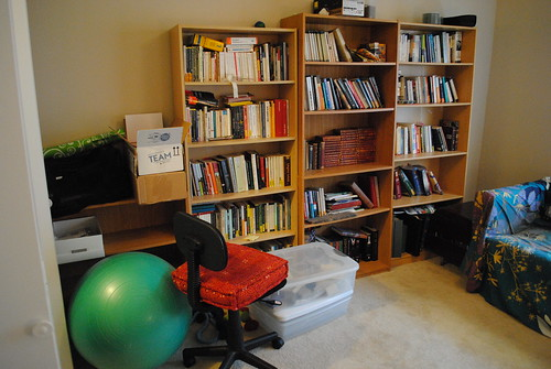 Office Before: Cluttered Shelves