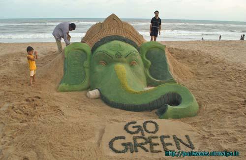 Green Ganesha - Sand Art at Puri Beach
