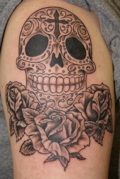 Sugar skull & roses tattoo. by Chris Posey @ Southside Tattoo & Piercing
