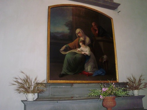 Tela settecentesca Maria con Sant'Anna e San Giovacchino