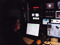 Beverly at the DVD controls in the ROV van