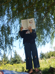 Olivia Reading Outside