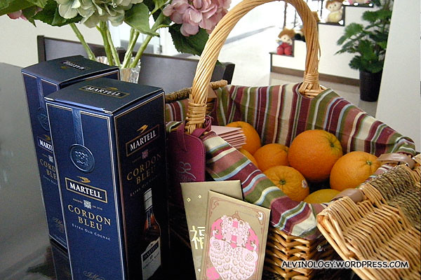 The basket of goodies and hard liquor