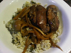 Chicken adobo (kinda) over spinach brown rice