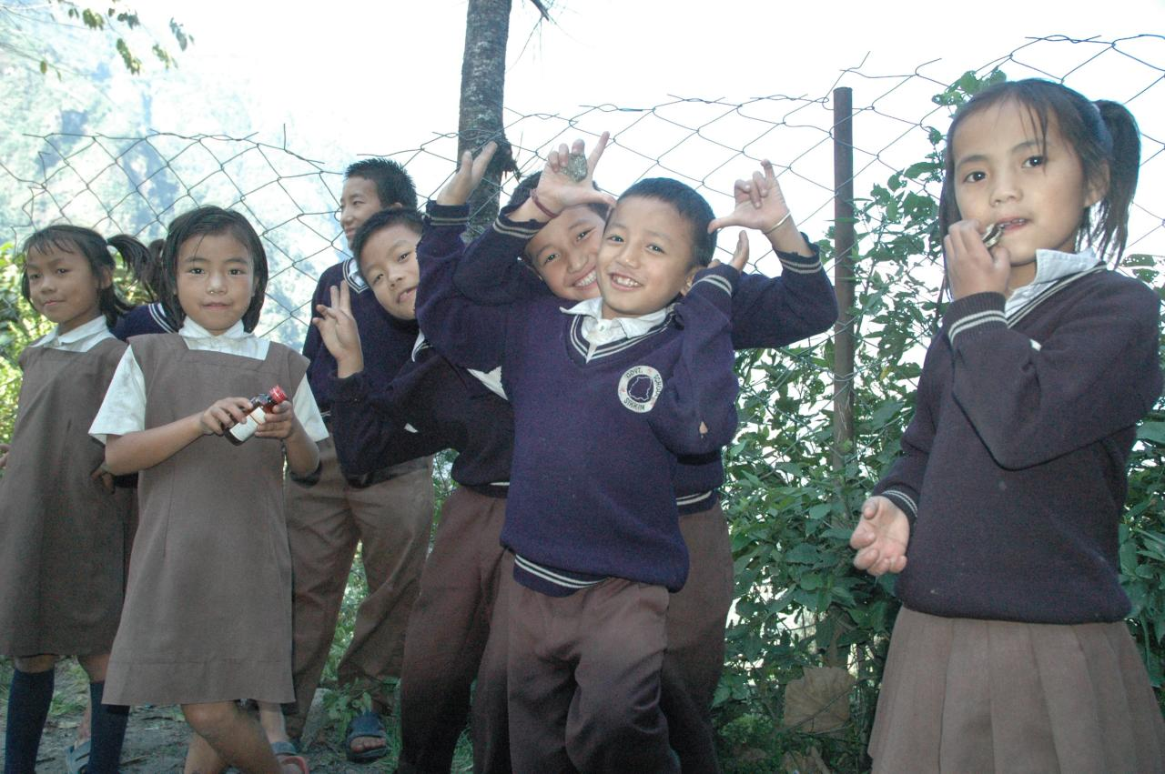 Frolicking on the school-side, Phodong, North Sikkim, India