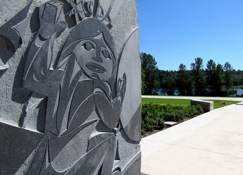 Sculptural Details of one of the 4 Basalt Slabs at Shadolt Centre for the Arts, Burnaby BC and the surrounding Deer Lake Park
