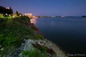 The night time Ohio River at Evansville