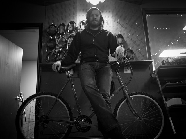 Eric Pulido rides a bike in Denton, TX