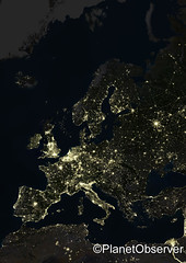 Europe at night - Satellite image - PlanetObserver