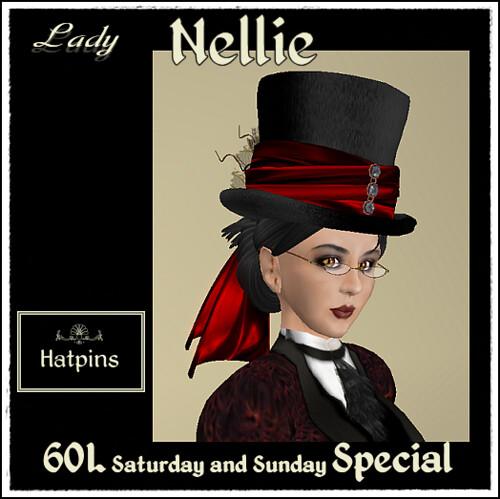 Hatpins - Lady Nellie - Scarlet - 60L