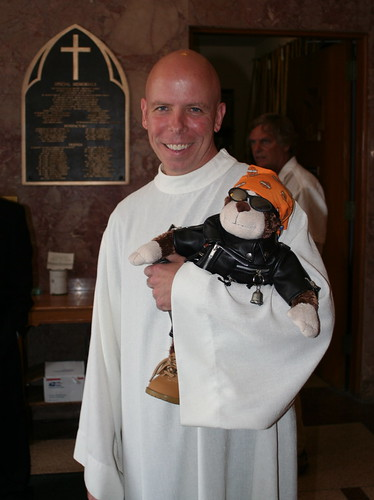 The Priest at St. Ann's & his Harley Davidson Monkey, Dirk
