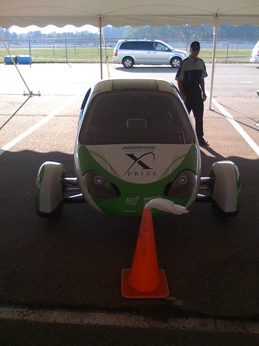 Aptera in the X PRIZE Charging Tent before the final  race