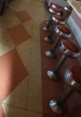 Vintage pink floor and stools