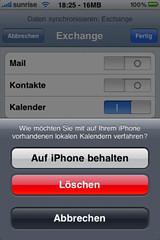 iPhone: Lokalen Kalender behalten