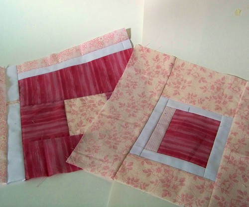 "Pink quilt blocks for ""Rainbow Around the Block"""