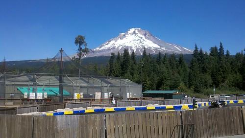 Mt. Hood peak over Ski Bowl summer recreation area
