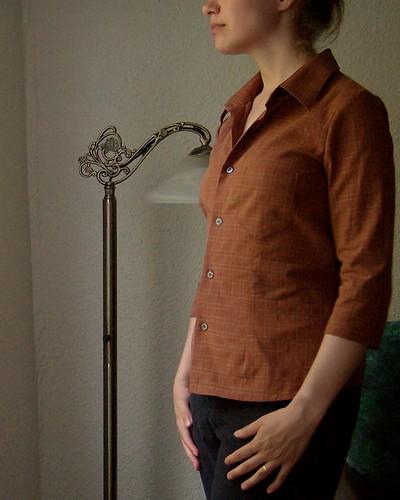 Refashioned plaid shirt, side view